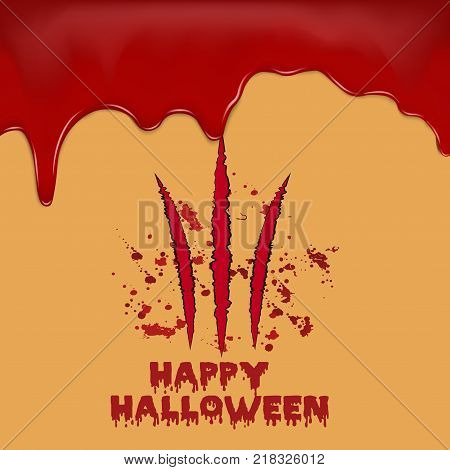 Halloween background with bloody claws. Vector background.