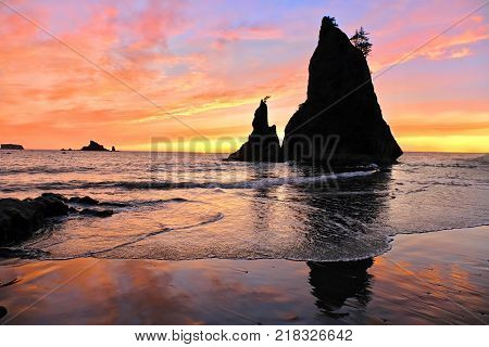 Sea Stacks at sunset. Rialto Beach in Olympic National Park. Olympia. Port Angeles. Seattle. Washington. United States.