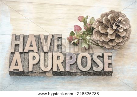 Have a purpose advice  - motivational advice in vintage letterpress wood type blocks with digital painting effect applied