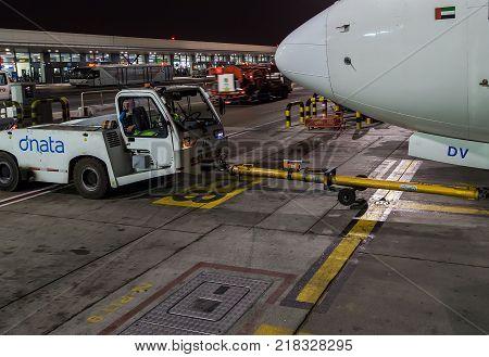 Airbus Boeing 737 Of Emirates At Dubai Airport, United Arab Emirates