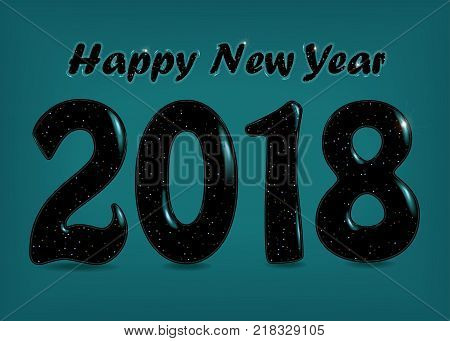 Happy New Year 2018. Black numerals with blurs and sequins. Vector Illustration