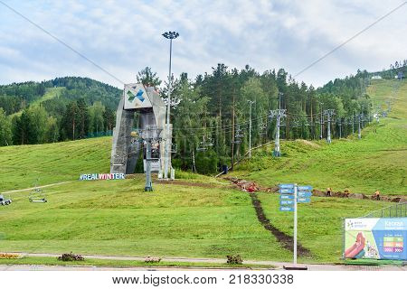 Krasnoyarsk Russia- August 10 2017: Chairlift in Krasnoyarsk fun park Beaver Log. The complex is located in a picturesque area of the city of Krasnoyarsk near the river Bazaikha