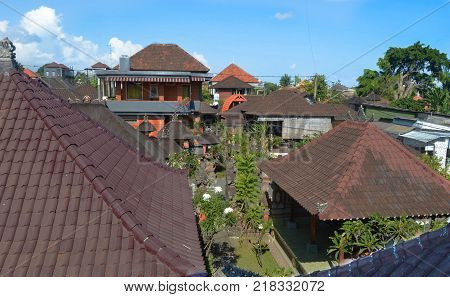 The people of Bali envelope themselves in their religion. Many families have shrines on the rooftops of their homes and businesses. Rooftop View of Ubud Bali - August 2015