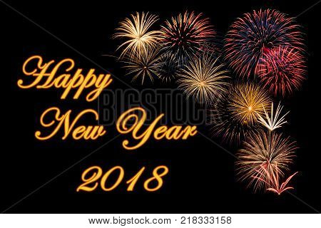 Festive fireworks display for a Happy New Year 2018 wishes