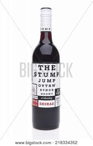 IRVINE CALIFORNIA - DECEMBER 14 2017: The Stump Jump Shiraz. From the D'Arenberg Winery in Mclaren Vale Australia.