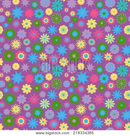 Cute Floral pattern in the small flower. Ditsy print . Seamless vector texture. Elegant template for fashion prints. Printing with very small colorful flowers. Purple background.