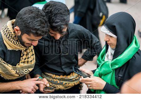 People chatting on street