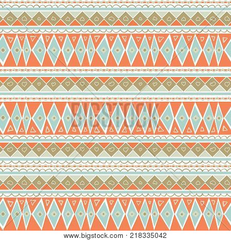 Pastel Mint and Coral Geometric Seamless Pattern. Soft Color Background. Peach blue geometric pattern with hand-drawn elements