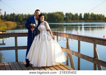 Belarus Gomel September 29 2017 Wedding Feast.Bride and groom on a wedding walk