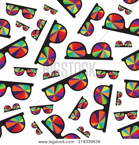 Sunglasses with multicolored glasses isolated on white background pattern. Sunglasses isolated on white background pattern vector