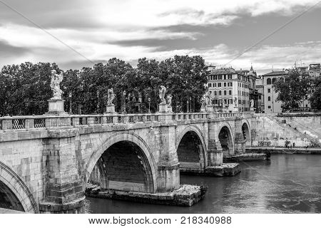 Ponte Sant'Angelo crossing the River Tiber, Rome