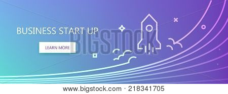 Blue colored vector banner with business start up words and rocket in linear style.