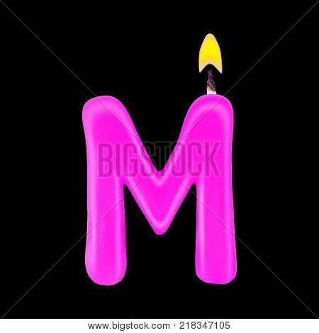 Realistic candle letter M isolated on black background. 3d. Stock - Vector illustration