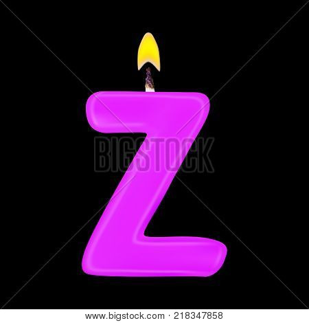 Realistic candle letter Z isolated on black background. 3d. Stock - Vector illustration