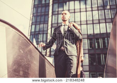 Black businessman in La Defense finance district, Paris