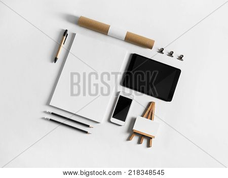 Blank corporate stationery and gadgets. Branding stationery mockup. Blank objects for placing your design. Flat lay.