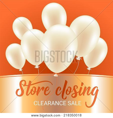 Store closing vector illustration, background. Banner, flyer for clearance sale or show shut down