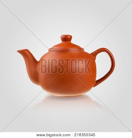 Teapot in a realistic style isolated on white background. 3d. Stock - Vector illustration for your design and business