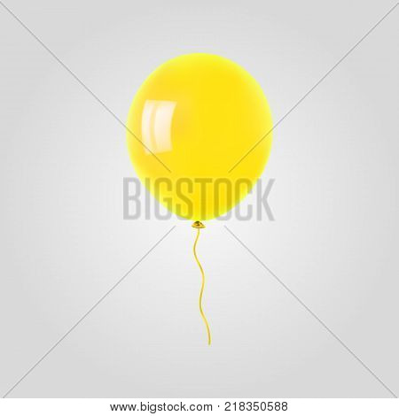 Yellow flying helium balloon. For decoration party, birthday, new year and celebrations. Realistic style isolated on white background. 3d. Stock - Vector illustration for your design and business