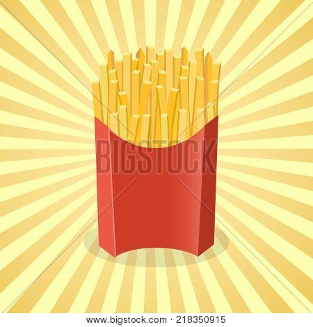 French fries in paper box - cute cartoon colored picture. Graphic design elements for menu, packaging, advertising, poster, brochure. Vector illustration of fast food for snackbar, cafe or restaurant