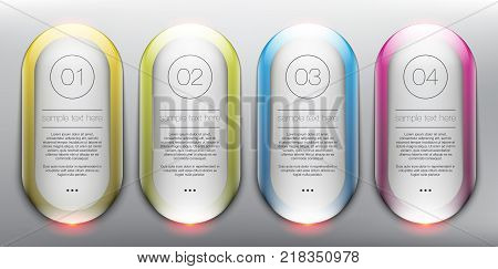 Vector glass web banners set of 4. Elliptical glossy banners. Isolated with realistic light and shadow on the light panel. Each item contains space for own text. Vector illustration. Eps10.