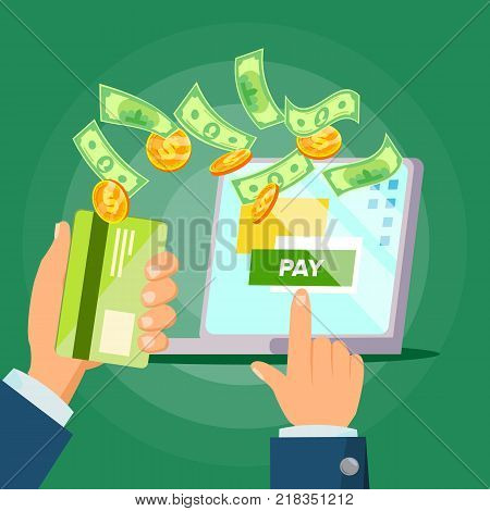 Laptop Payment Vector. Transaction And Paypass. Tax Research, Ecommerce. Isolated Flat Cartoon Illustration poster