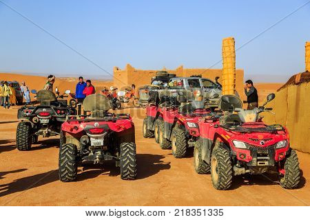 Ait Saoun Morocco - February 22 2016: Rally car buggy RZR 800 standing for race rally in Ait Saoun desert in Morocco.