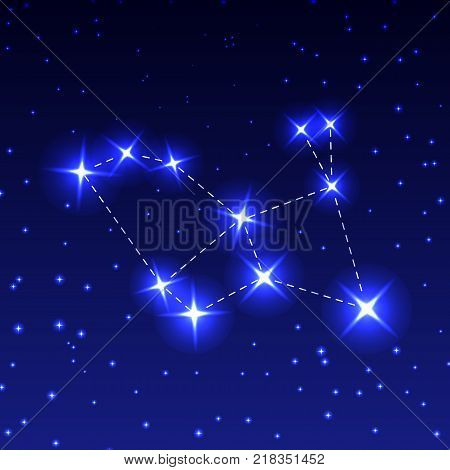 The Constellation Of The Hare in the night starry sky. Vector illustration of the concept of astronomy