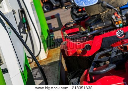 Ait Saoun Morocco - February 23 2016: Atv RZR 800 at petrol station for gas refill in Ait Saoun village in Morocco.