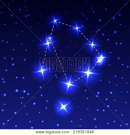 The Constellation Of Ophiuchus in the night starry sky. Vector illustration of the concept of astronomy