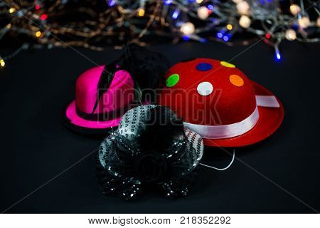 Hats on black background carnival hats party hats