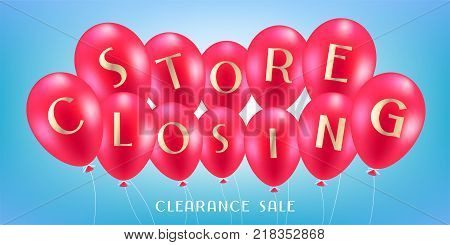 Store closing vector illustration, background with air balloons. Horizontal banner, flyer for store shutting down clearance sale