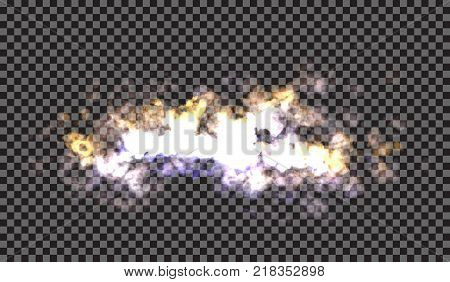 Fog or smoke isolated transparent special effect. White vector cloudiness, mist or smog background. Vector illustration
