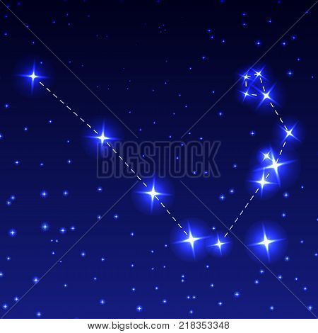 The Constellation Of the Serpent in the night starry sky. Vector illustration of the concept of astronomy