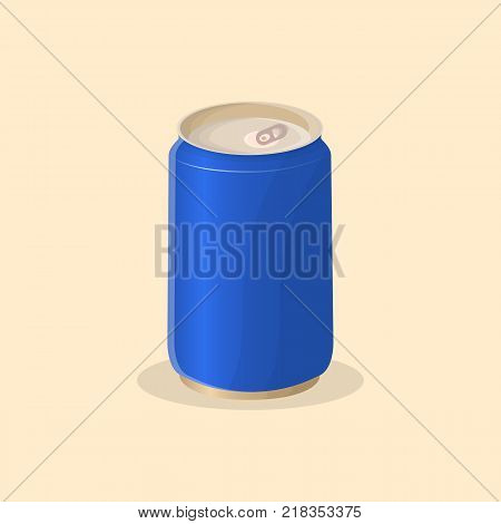 Soda in a tin can - cute cartoon colored picture. Vector illustration of fast food