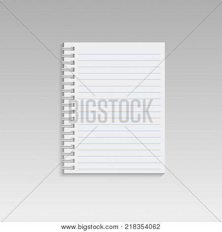 Spiral notepad with lines. Vector. Notepad icon
