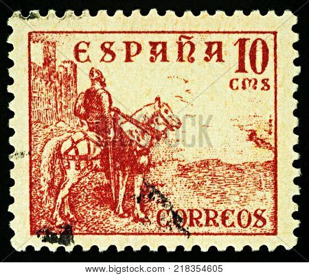 Moscow Russia - December 15 2017: A stamp printed in Spain shows equestrian portrait of El Cid - Castilian nobleman and military leader national hero in medieval Spain circa 1937