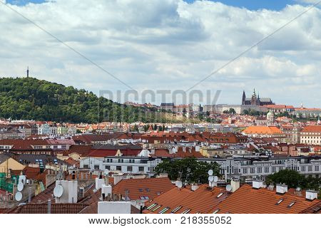 Petrin Hill, Prague (Hradcany) Castle and old buildings in Prague, Czech Republic, viewed from the Vysehrad fort.