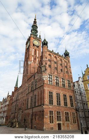 View of the Main Town Hall located at Long Market Street (Long Lane) at the Main Town (Old Town) in Gdansk, Poland.