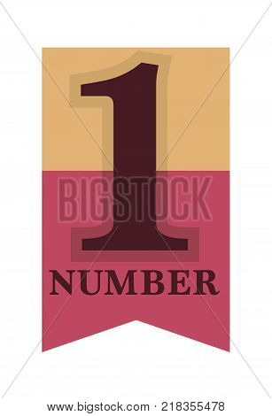 Number one emblemwith stars and ribbons around big numeral isolated cartoon vector illustrations on white background. Honorary distinctive sign for best and outstanding people and achievements.