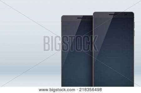 Modern design concept set collection with two stylish black smartphones with shadows on the large blanks displays and touchscreens on the grey background vector illustration
