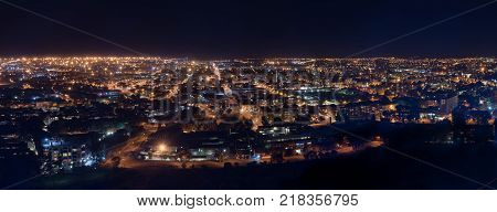 BLOEMFONTEIN SOUTH AFRICA DECEMBER 14 2016: A night time panorama of the Central Business District in Bloemfontein as seen from Naval Hill