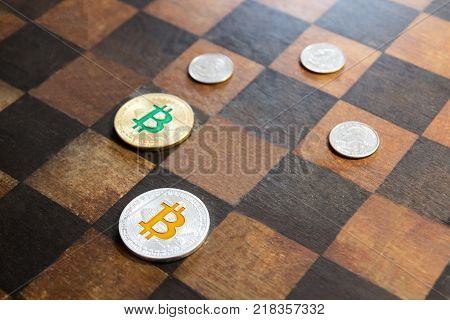 Bitcoins are opposed to dollars in, the concept of confrontation between bitcoin and the dollar