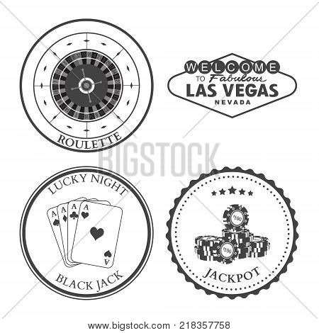 Casino Roulette Las Vegas Black Jack Jackpot design elements and badges set. Vector illustration