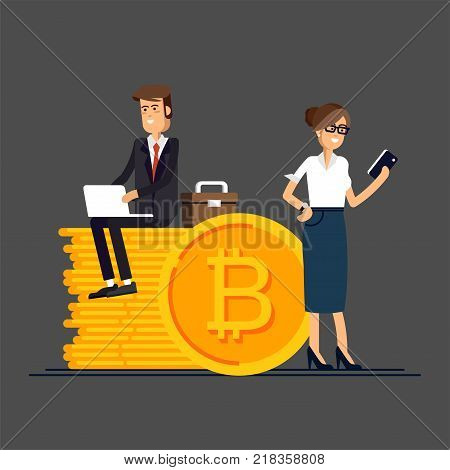 Bitcoin concept vector illustration of businessman and businesswoman using laptop and smartphone for online funding and making investments for bitcoin and blockchain. Flat design of new technology.