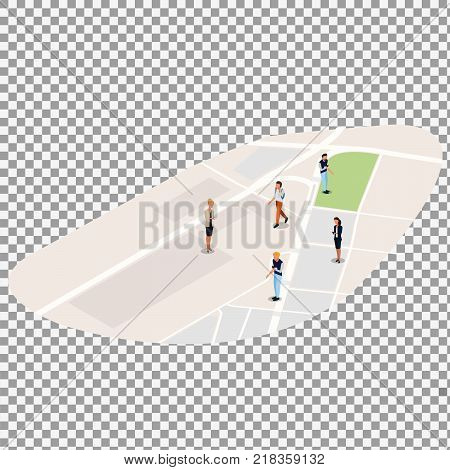 Isometric business people on the isometric map background on transparent background. -stock vector