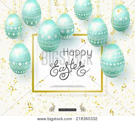 Happy Easter banner. Turquoise realistic Easter eggs decorated with ornament. Square frame with text. Lettering bunny. Vector illustration