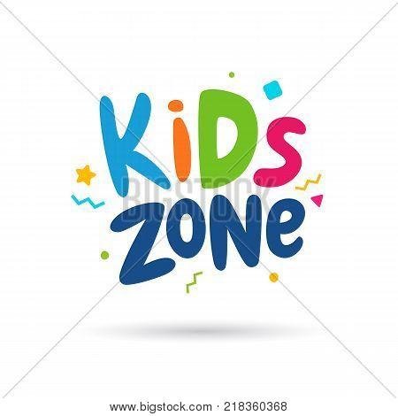 Kids zone emblem or logo for childrens playroom. Vector illustration