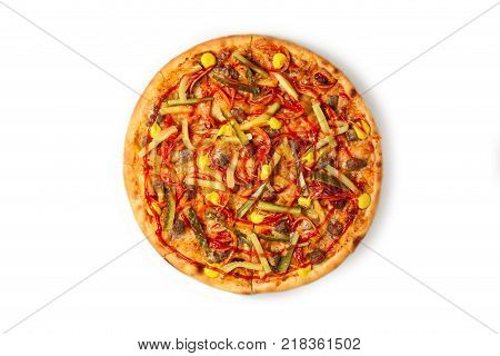 Pizza Americana, mozzarella, pepperoni, ham, mushrooms isolated on white background