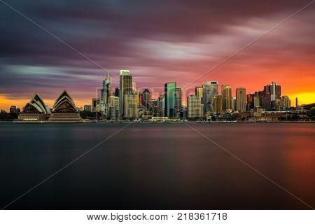 Sunset skyline of Sydney downtown in Australia. Long exposure.